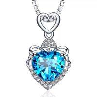 S925 Silber Herz Kette Halskette in Blau Pink Violett...