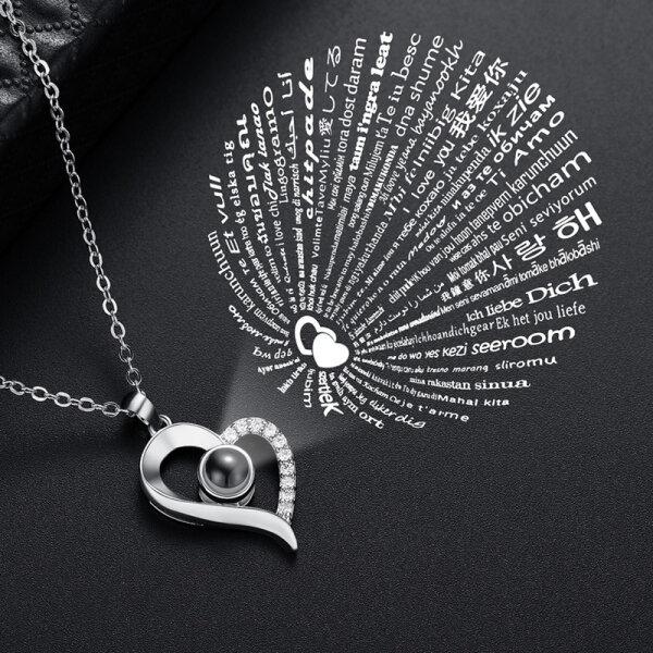 Damen Halskette Herz Ich liebe dich in 100 Sprachen I love you Rose Gold Schmuck