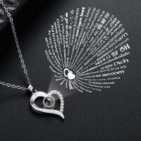 Damen Halskette Herz Ich liebe dich in 100 Sprachen I...