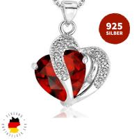 Halskette Doppelherz Rot