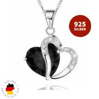 Halskette Doppelherz Schwarz