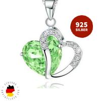 Halskette Doppelherz Grün