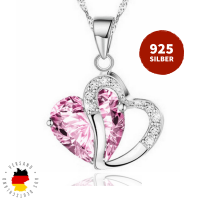 Halskette Doppelherz Pink