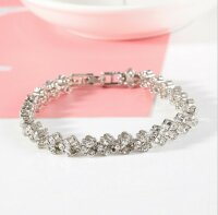 Luxus Kristall Armband Damen Silber 16,5cm