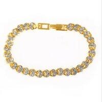 Luxus Kristall Armband Damen Gold 16,5cm