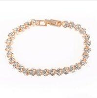Luxus Kristall Armband Damen Rose Gold 16,5cm