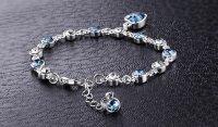 925 Frauen Kristall Strass Armreifen Damen Ozean Blau Armband Kette Herzform Schmuck Geschenke