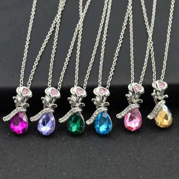 Diamant Anhänger Rose Blume Engel Tränen Kristall Halskette