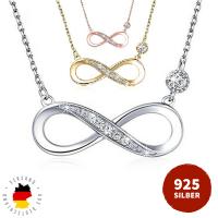 Silber 925 Infinity Unendlichkeit Halskette Volldiamant...