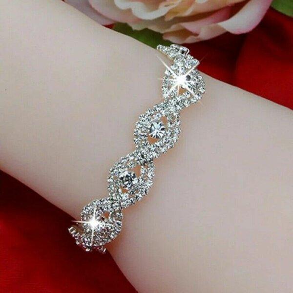 Armband Frauen Kristall Strass Armreifen Damen Silber Armband Kette