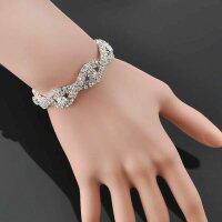 Armband Frauen Kristall Strass Armreifen Damen Silber...