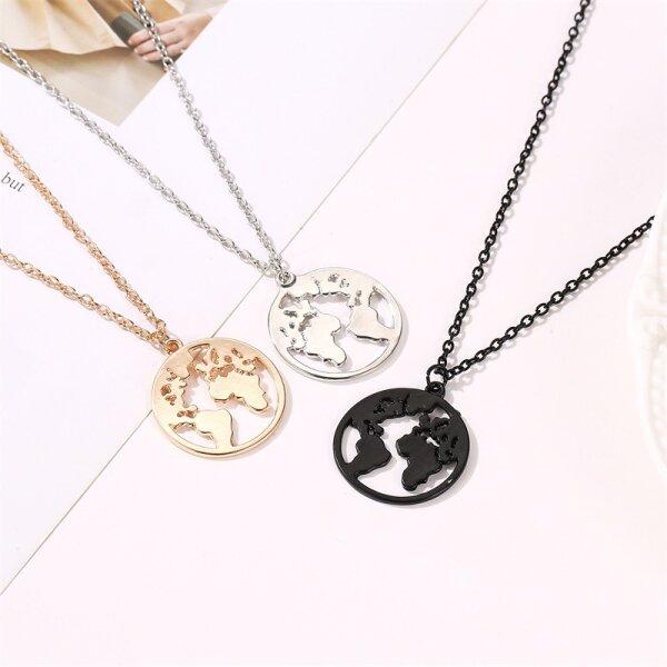 Damen Halskette Halsketten Weltkarte Globus Welt Symbol Rosegold Gold Silber Schwarz