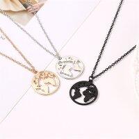 Damen Halskette Halsketten Weltkarte Globus Welt Symbol...