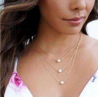 Damen Perlenkette Halskette Muschelkernperle