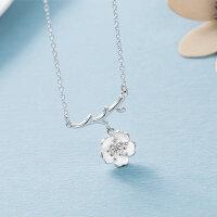 925 Silber Damen Halskette Kette Anhänger Blume Schmuck Blüte Rose Silber Lila