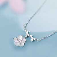 925 Silber Damen Halskette Kette Anhänger Blume...