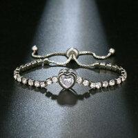 Silber Kette Armband Armkette Modeschmuck Damen edel Geschenk Herz für Freundin