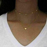 2x Damen Halskette mit Herz Anhänger Gold Silber...