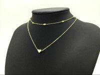 2x Damen Halskette mit Herz Anhänger Gold Silber Geschenk Necklace Frauen Kette
