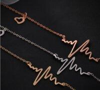 Herz Halskette Gold Anhänger Herzschlag Damen Kette...