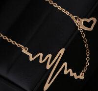 Herz Halskette Gold Anhänger Herzschlag Damen Kette Geschenk Liebe Schmuck Frauen Love