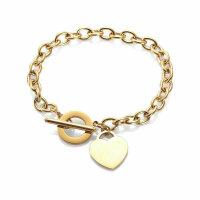 Damen Schmuck Rosegold Gold Silber Armband Edelstahl Herz...