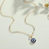 Nazar Boncuk böses Auge Amulett Glücksbringer Türkisch Arabisch Halskette Gold!