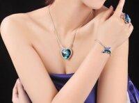 Titanic Halskette Herz des Ozeans Kette + Anhänger Mit Kristall Collier Halskette Strass