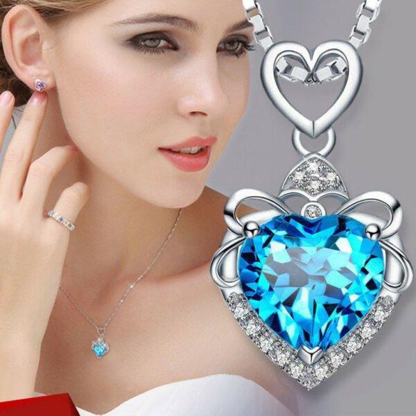 S925 Silber Herz Kette Halskette in Blau Pink Violett Liebe Weißheit Topas Stein