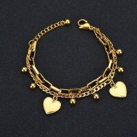 Armband Edelstahl 2x Herz Gold