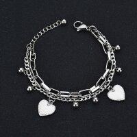 Armband Edelstahl 2x Herz Silber