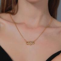 Halskette Infinity Herz Ineinander mit Kristall