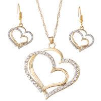 Doppelte Liebe Gold mit Ohrringe