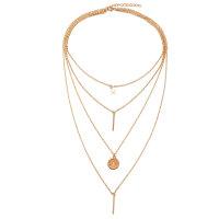 4er Collier Halskette Stern und Streifen Damen Gold