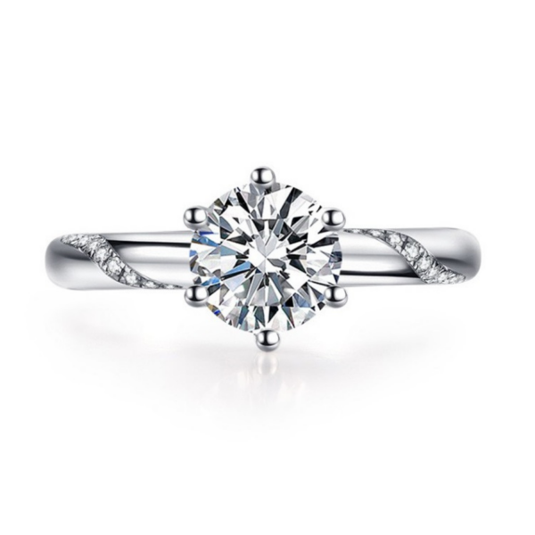 Ring Damen Damenring 925 Silber Plattiert Zirkonia Partnerringe Verlobungsring