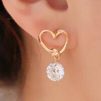Ohrringe Gold mit Herz Kristall für Frauen Geschenk...