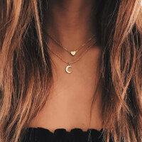 Halskette Herz Diamant Mond Halbmond Anhänger Collier