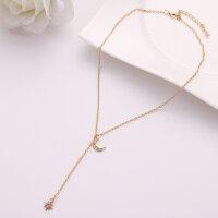 Halskette Collier Halbmond mit Stern Gold und Silber Schlüsselbeinkette