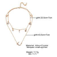 Mehrschichtige Halskette Collier Volldiamant Stern Mond Silber Gold