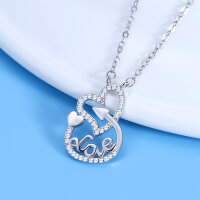 Halskette Herz Love Damen Liebe Anhänger Silber 925...
