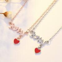 925 Steerling Silber Platiert Halskette I love You Kette...
