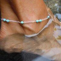 Damen Fußkette Perlen türkis Gold Kette...