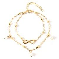 Damen Fußkette Doppelperle Gold Unendlich...