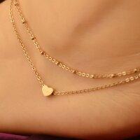 Damen Fußkette Herz Perlen Gold Doppelkette...