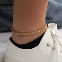 Damen Fußkette Statement gedreht Gold Doppelkette...